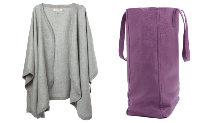 Cuyana's 100 percent baby alpaca cape ($195) and Argentinean leather tote bag in lilac ($150).