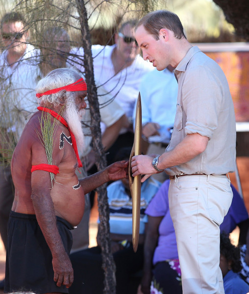 AYERS ROCK, AUSTRALIA - APRIL 22:  Prince William, Duke of Cambridge meets an indigenous man during a visit to Uluru-Kata Tjuta Cultural Centre on Apr...