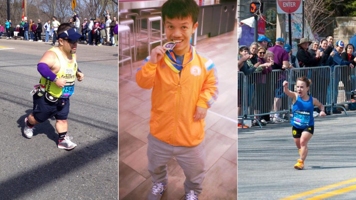 Runners John Young, Danh Trang and Juli Windsor at the Boston Marathon.