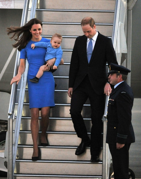 Duchess Kate, Prince George and Prince William arrive at Defence Establishment Fairbairn in Canberra, Australia on April 20, 2014.