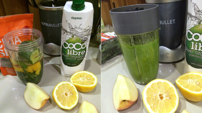 Before and after: Natalie's juice of the day.