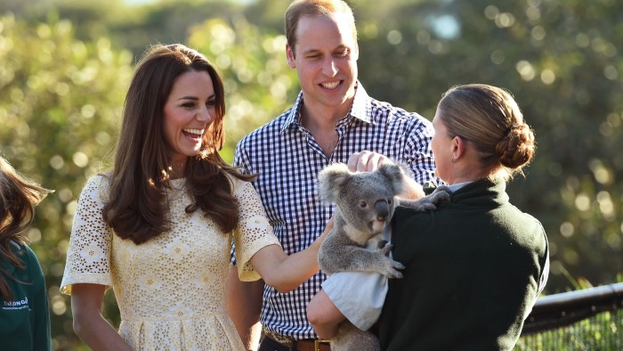 Duchess Kate and Prince William pet a koala named Leuca at the Taronga Zoo in Sydney on April 20, 2014.