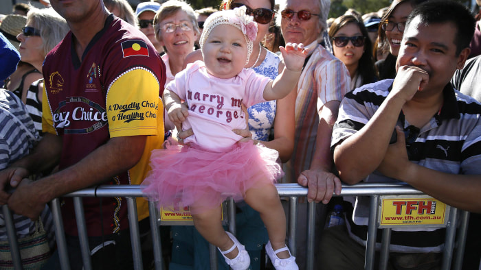 Grace Farrelly, 10 months old, waits to see Prince William, Duchess Kate and Prince George.