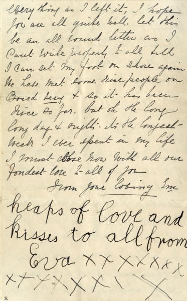 The letter is signed at the bottom by famous Titanic survivor Eva Hart, who was 7 years old at the time.