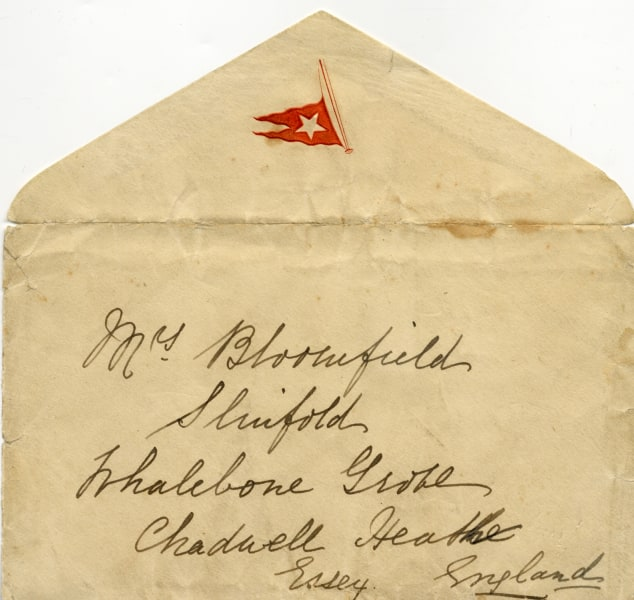 The original embossed envelope that held the Titanic letter also will be included in the auction.
