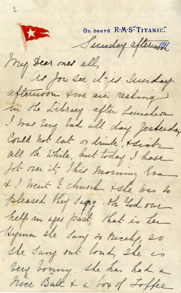 The letter was written by Titanic survivor Esther Hart, who was on board with her 7-year-old daughter, Eva, and her husband, Benjamin, the latter of whom did not survive.