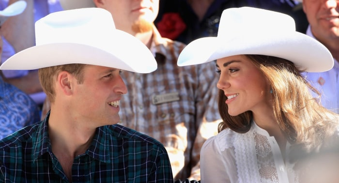 CALGARY, AB - JULY 08:  Catherine, Duchess of Cambridge and Prince William, Duke of Cambridge wave as they attend the Calgary Stampede on July 8, 2011...