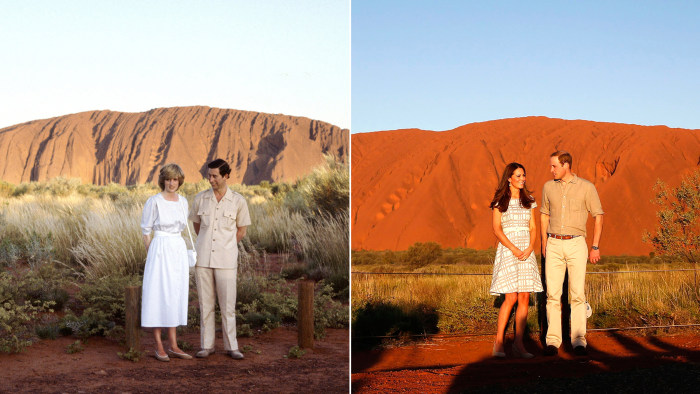 AYERS ROCK, AUSTRALIA - MARCH 21:  Prince Charles, The Prince Of Wales And Diana, Princess Of Wales Standing In Front Of Ayers Rock During Their Offic...