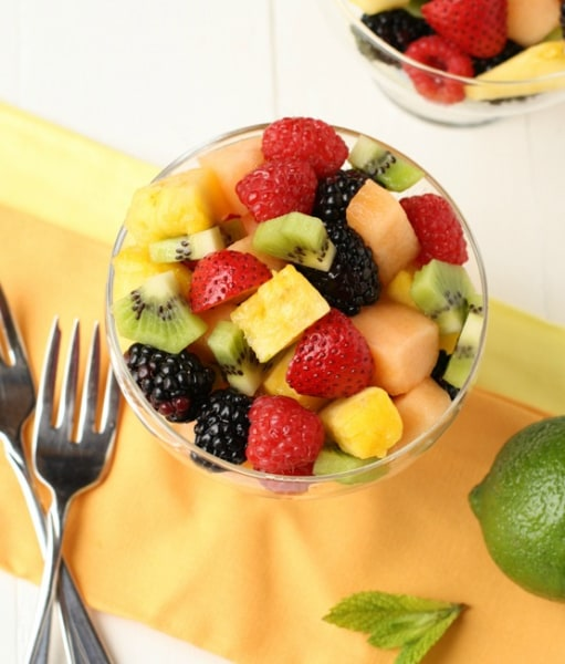 Fruit salad with lime-mint dressing