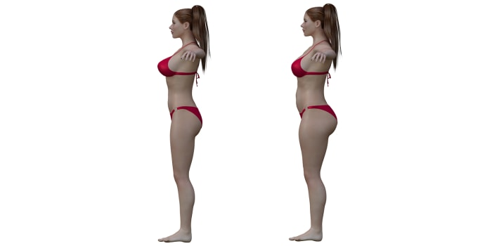 3-D illustration of ideal female body and average female body