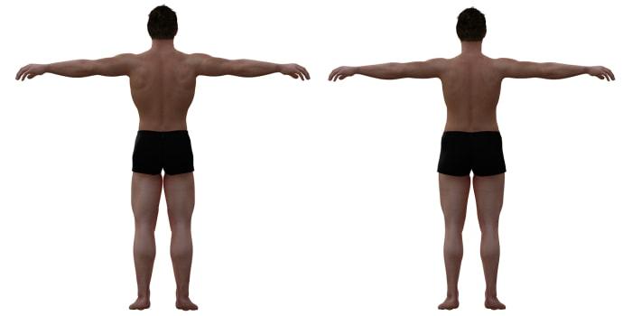 Ideal male body vs. average male body