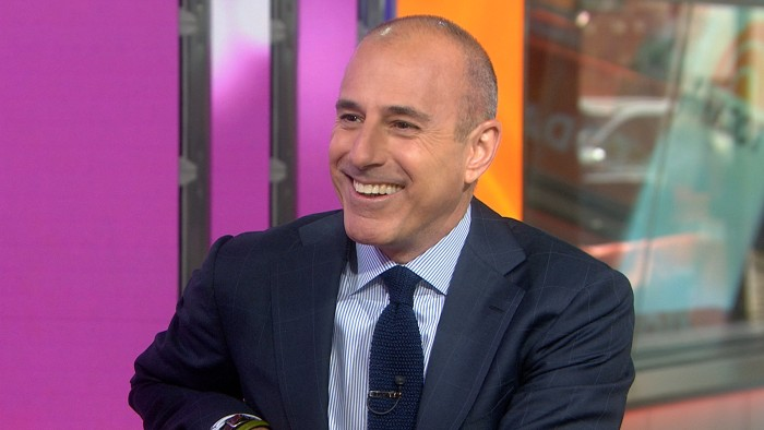 "Lauer laughs after Keaton tells him, ""you have a nice chest."""
