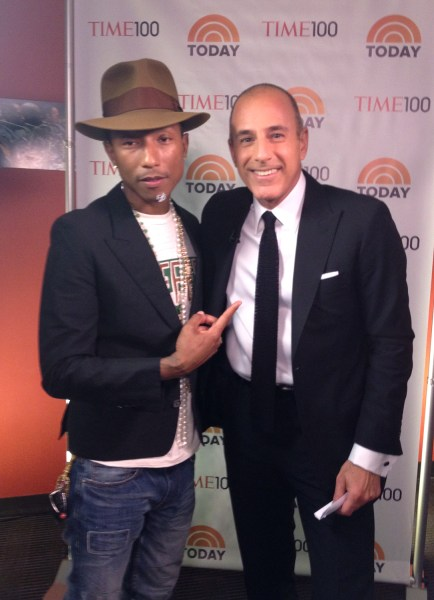 Pharrell Williams talked pet peeves and what he feels is most promising about the world with Matt Lauer after the Time 100 gala on Tuesday night.