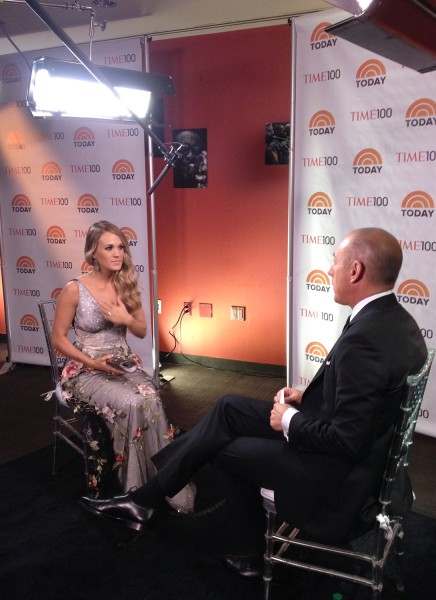 Country singer Carrie Underwood admitted she doesn't really try anything new in talking to Matt Lauer during the Time 100 gala.