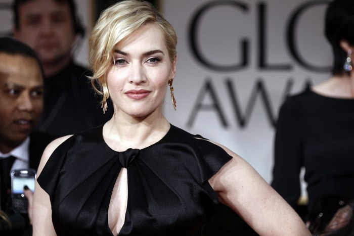 Kate Winslet arrives at the 69th Annual Golden Globe Awards Sunday, Jan. 15, 2012, in Los Angeles. (AP Photo/Matt Sayles)