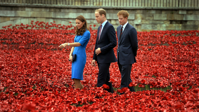 """Duchess Kate, Prince William and Prince Harry visit the Tower of London's """"Blood Swept Lands and Seas of Red"""" ceramic poppy installation commemorating the 100th anniversary of the outbreak of World War I."""
