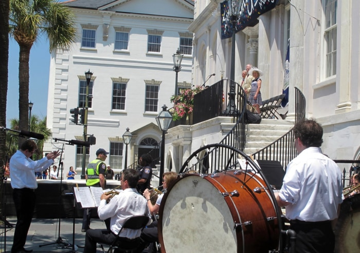 Musicians perform during the opening ceremonies of the Spoleto Festival USA on Friday, May 23, 2014, in Charleston, South Carolina.