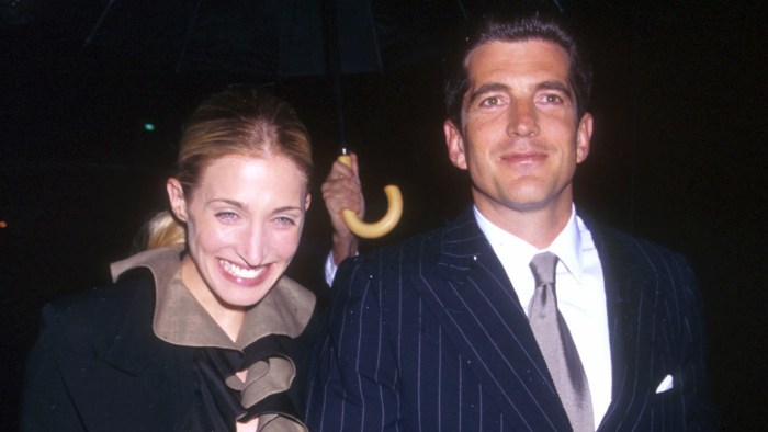 John Kennedy Jr. and his wife Carolyn Bessette arrive at the US Customs House in New York city May 19, 1999 for the Newman's Own/George Awards honoring...