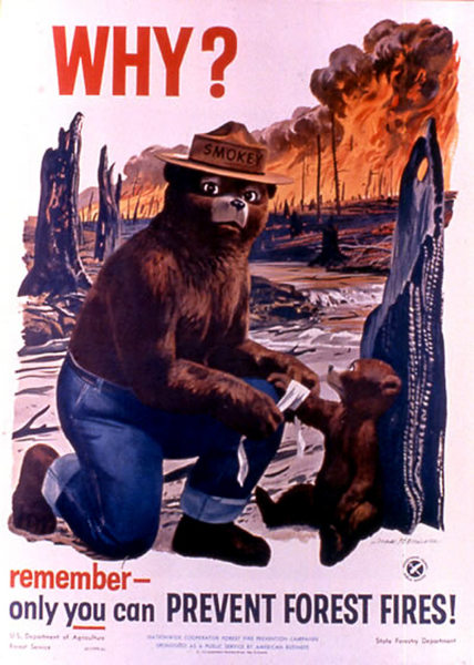 This poster from the U.S. Agriculture Dept. web site shows Smokey Bear in a 1960s-era poster. The AD Council has launched a new campaign to revise Smo...
