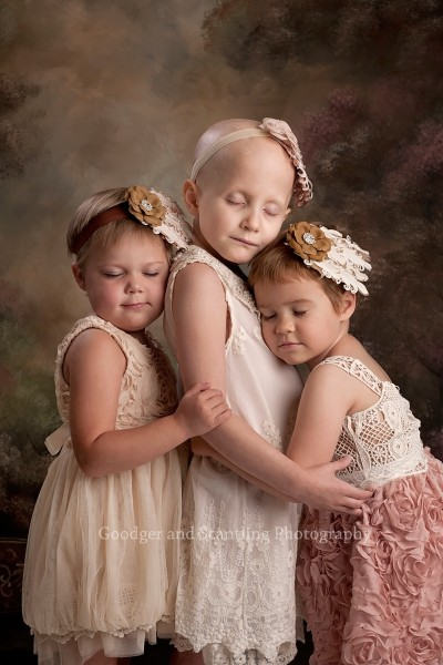 Three girls in remission from cancer reunited on Saturday to take this updated photograph.