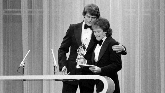 """LOS ANGELES - MARCH 8: Christopher Reeve presenting Robin Williams of """"Mork and Mindy"""" with the Favorite Male Performer in a New TV Program on the 197..."""