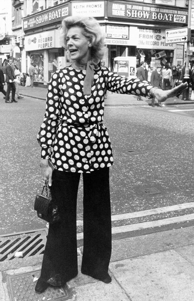 Ready in a polka dot tunic to stop the Leicester Square traffic in London Oct. 2, 1972, is American actress Lauren Bacall here to star in the London p...