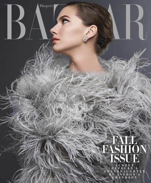 Emma Ferrer, Audrey Hepburn's granddaughter, posing in the September 2014 issue of Harper's BAZAAR.