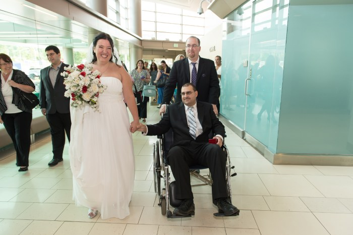 James Lauricella and Kimberly Mikucki tied the knot on Saturday in the hospital, where the groom is being treated for cancer.