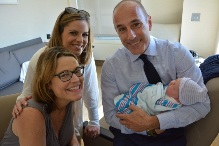 Look at those smiles! Savannah rocking the glasses look at the hospital as Matt and Natalie pay a visit.