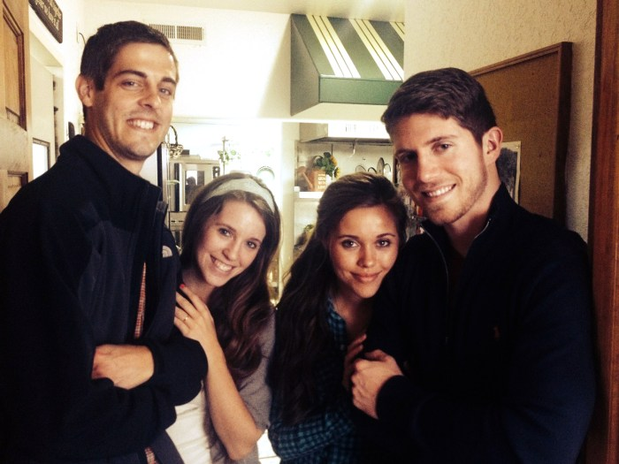 """Courting couples: At left, Jill Duggar and Derick Dillard during their """"courtship"""" this spring. At right, Ben Seewald and Jessa Duggar, who are now engaged to be married."""