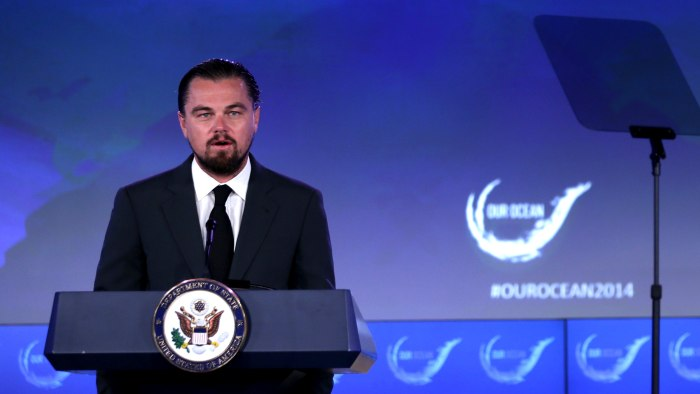 Image: Leonardo DiCaprio speaking at an ocean-conservation conference June 17.