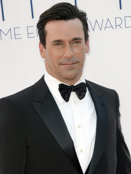 A file picture dated 23 September 2012 shows US actor Jon Hamm arriving for the 64th Primetime Emmy Awards held at the Nokia Theatr...