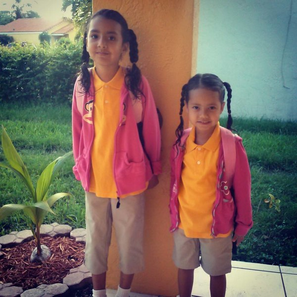 Twinning on the first day of 1st grade and Pre-K.