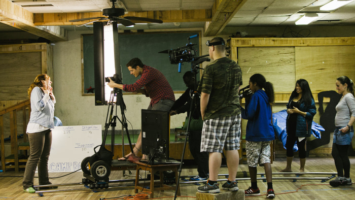 "Production of the ""Happy"" video made by the Deaf Film camp students."