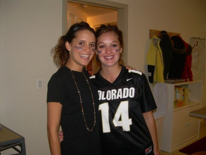 Sarah Bourassa and her college roommate, Hanna Lee, getting ready for a University of Colorado Buffaloes football game.