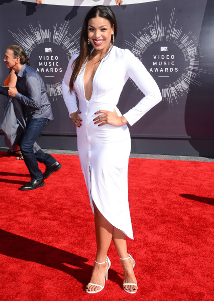 Jordin Sparks arrives at the MTV Video Music Awards at The Forum on Sunday, Aug. 24, 2014, in Inglewood, Calif. (Photo by Jordan Strauss/Invision/AP)