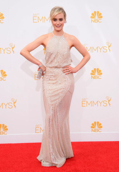 Taylor Schilling arrives at the 66th Annual Primetime Emmy Awards at the Nokia Theatre L.A. Live on Monday, Aug. 25, 2014, in Los Angeles. (Photo by J...