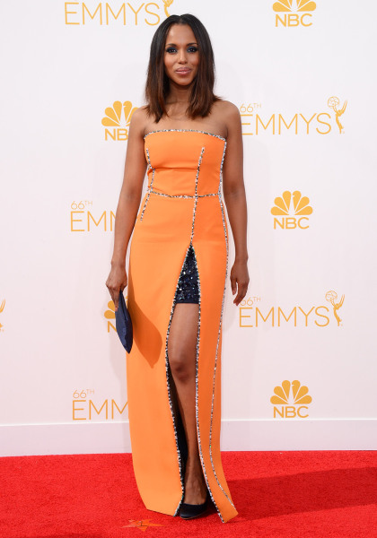 Kerry Washington arrives at the 66th Annual Primetime Emmy Awards at the Nokia Theatre L.A. Live on Monday, Aug. 25, 2014, in Los Angeles. (Photo by J...