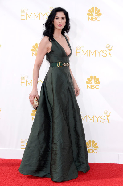 LOS ANGELES, CA - AUGUST 25:  66th ANNUAL PRIMETIME EMMY AWARDS -- Pictured: Actress Sarah Silverman arrives to the 66th Annual Primetime Emmy Awards ...
