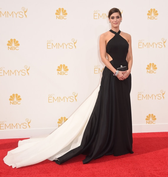 LOS ANGELES, CA - AUGUST 25:  Actress Lizzy Caplan attends the 66th Annual Primetime Emmy Awards held at Nokia Theatre L.A. Live on August 25, 2014 in...