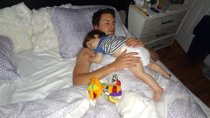 The sleeping on Dad position (Jenson and dad Olly Poltzer)