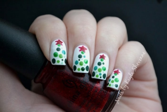 Easy christmas nail art from santa hats to snowmen today dotted tree nail art today prinsesfo Images