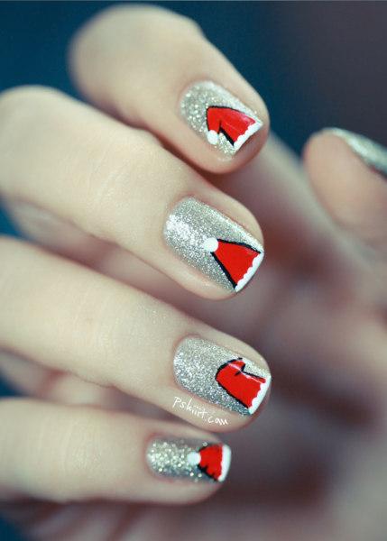 Easy christmas nail art from santa hats to snowmen today santa hat nail art today prinsesfo Choice Image