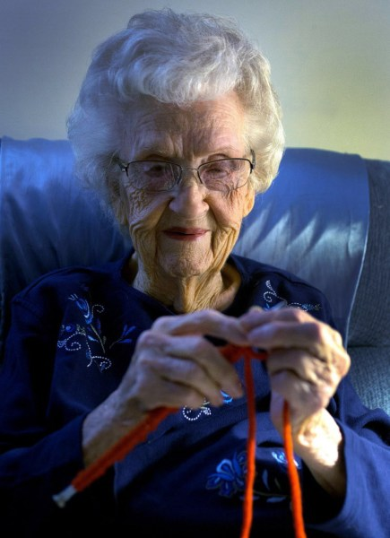 On her 104th birthday, Dody Patterson spends the morning knitting caps at her apartment at Good Samaritan Society Eugene Village in Eugene on Dec. 3, ...