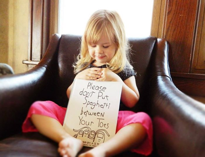 Little girl s funny quotes inspire dad s spaghetti toes drawings