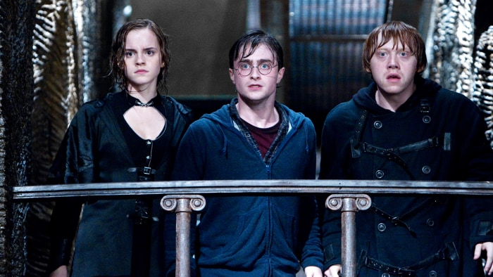 """Emma Watson as Hermione Granger, Daniel Radcliffe as Harry Potter and Rupert Grint as Ron Weasley in a scene from """"Harry Potter and the Deathly Hallows: Part 2."""""""