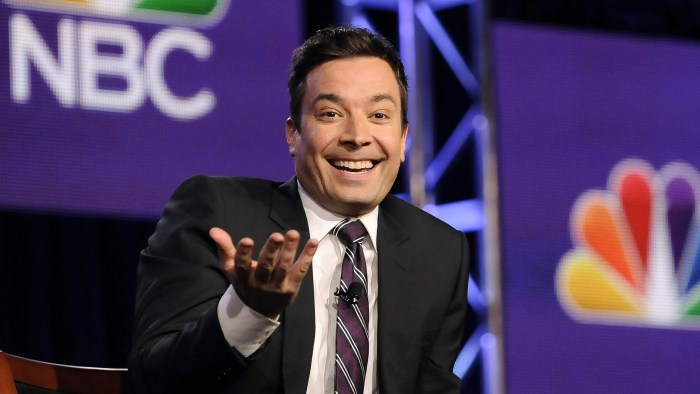 "Jimmy Fallon, host of ""The Tonight Show Starring Jimmy Fallon"",  takes part in a panel discussion at the NBC portion of the 2014 Winter Press Tour for..."