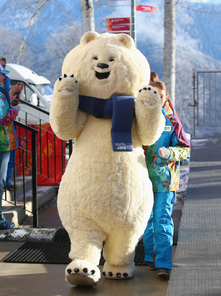 SOCHI, RUSSIA - FEBRUARY 02:  One of the Sochi 2014 mascots is seen in the Athletes Village ahead of the Sochi 2014 Winter Olympics on February 2, 201...