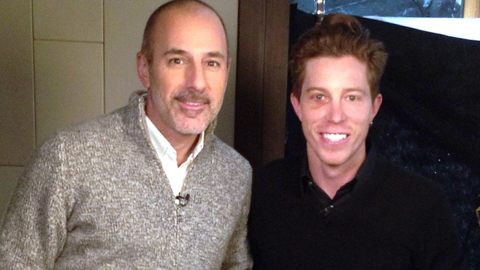 Olympian Shaun White with Matt Lauer in Sochi.