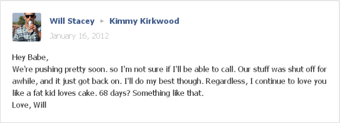 Will and Kimmy Facebook message